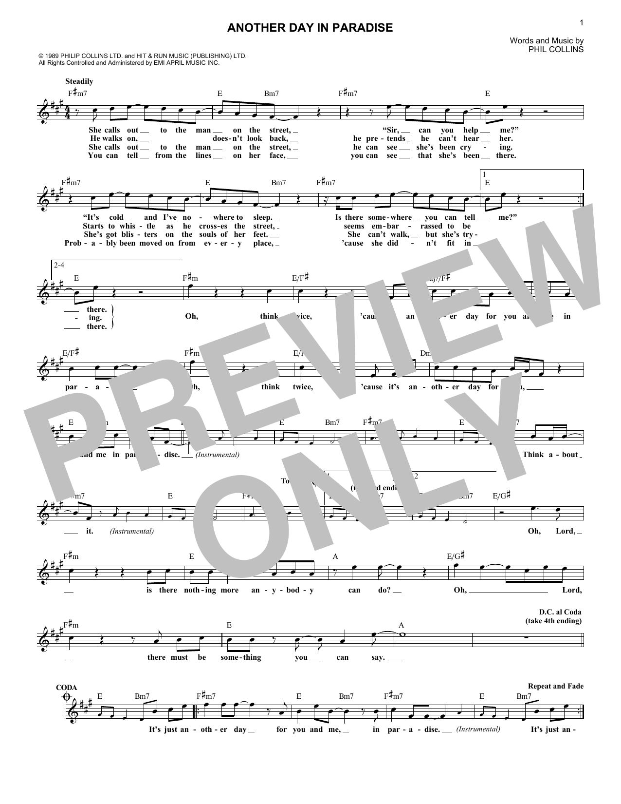 Phil Collins 'Another Day In Paradise' Sheet Music Notes, Chords | Download  Printable Melody Line, Lyrics & Chords - SKU: 180205