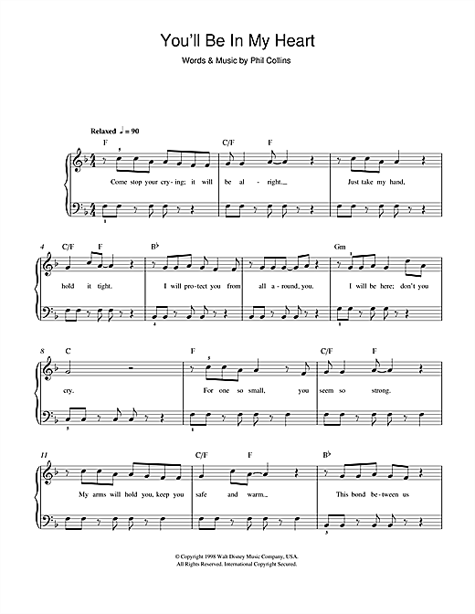 Download Phil Collins You'll Be In My Heart (from Walt Disney's Tarzan) sheet music and printable PDF score & Disney music notes