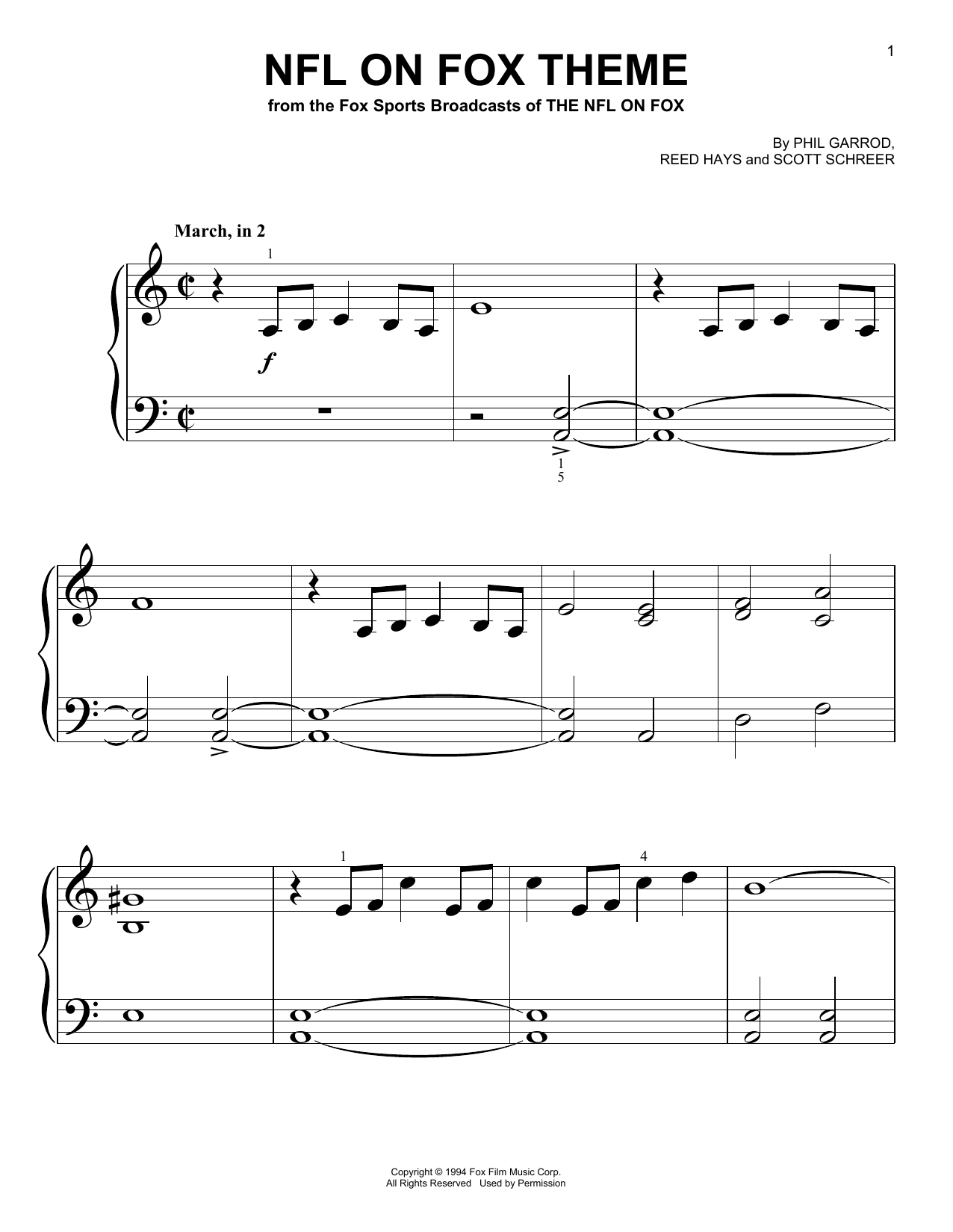 Download Phil Garrod NFL On Fox Theme sheet music and printable PDF score & Film and TV music notes