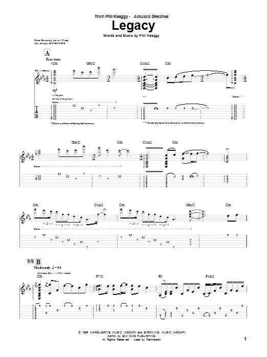Download Phil Keaggy Legacy sheet music and printable PDF score & Pop music notes