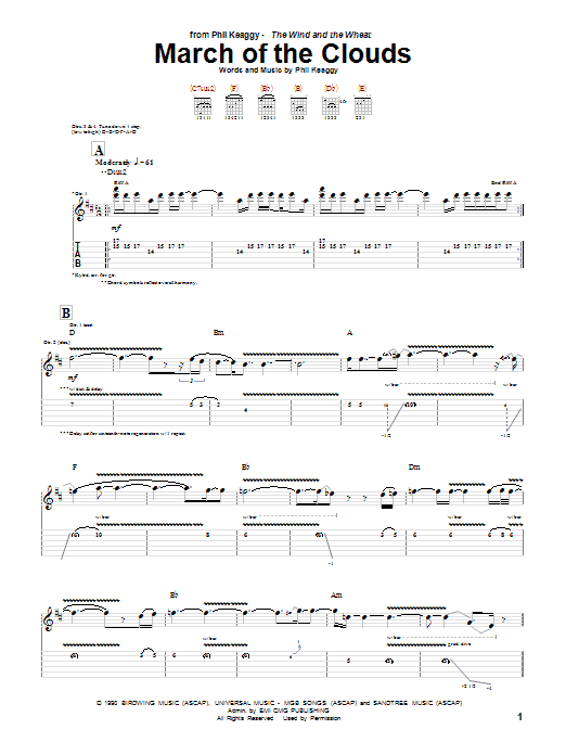 Download Phil Keaggy March Of The Clouds sheet music and printable PDF score & Pop music notes