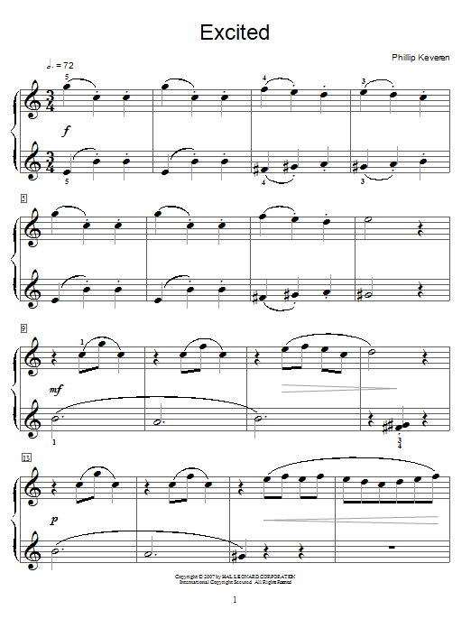 Download Phillip Keveren Excited sheet music and printable PDF score & Pop music notes