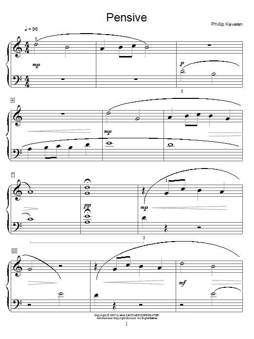 Download Phillip Keveren Pensive sheet music and printable PDF score & Pop music notes