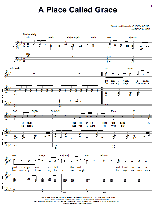 Download Phillips, Craig & Dean A Place Called Grace sheet music and printable PDF score & Religious music notes