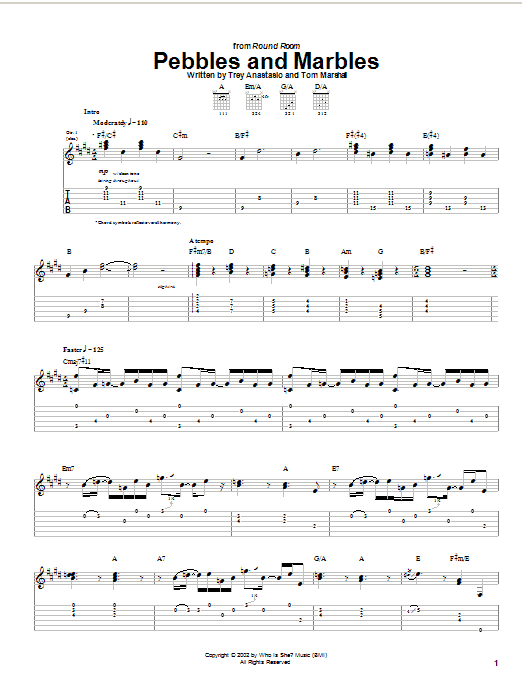 Download Phish Pebbles And Marbles sheet music and printable PDF score & Rock music notes