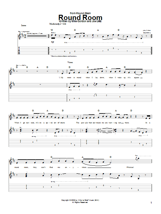 Download Phish Round Room sheet music and printable PDF score & Rock music notes