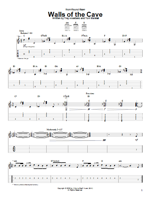 Download Phish Walls Of The Cave sheet music and printable PDF score & Rock music notes