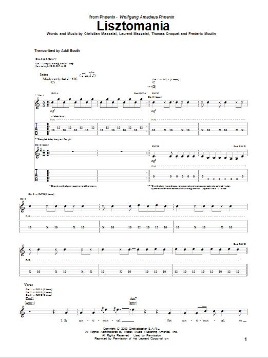 Download Phoenix Lisztomania sheet music and printable PDF score & Rock music notes