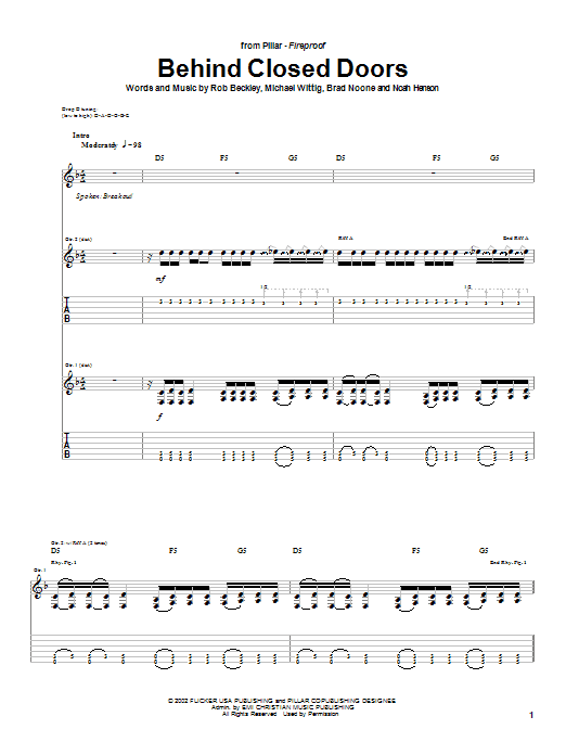 Download Pillar Behind Closed Doors sheet music and printable PDF score & Religious music notes