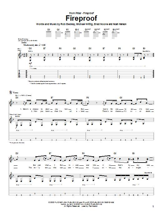 Download Pillar Fireproof sheet music and printable PDF score & Rock music notes