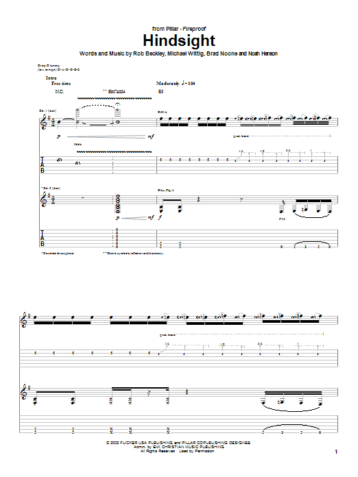 Download Pillar Hindsight sheet music and printable PDF score & Religious music notes