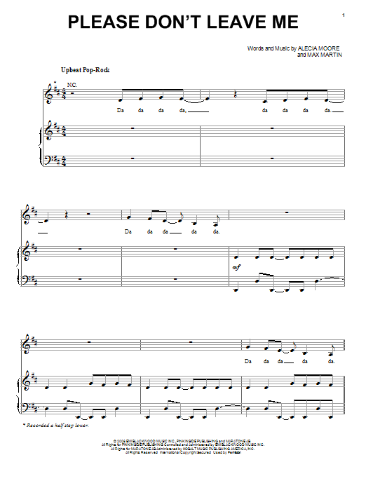 Download Pink Please Don't Leave Me sheet music and printable PDF score & Rock music notes