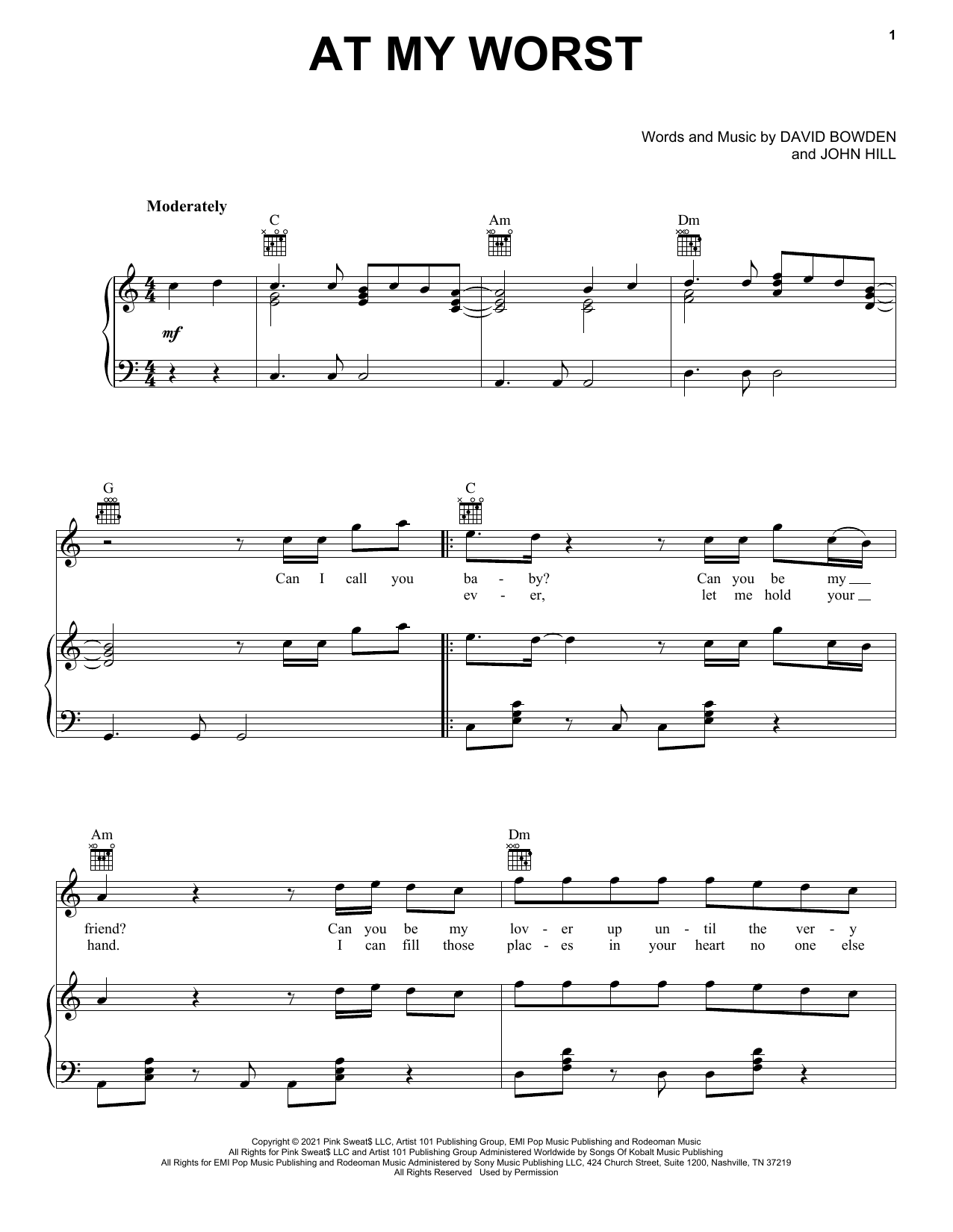 Download Pink Sweat$ At My Worst sheet music and printable PDF score & Pop music notes
