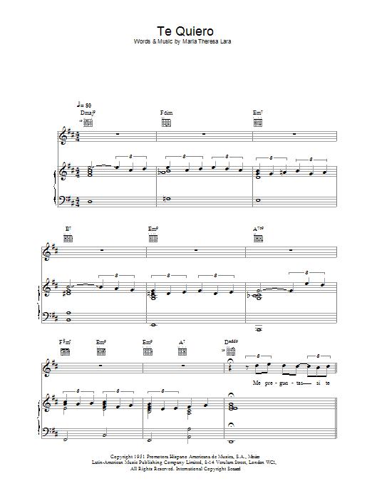 Download Placido Domingo Te Quiero sheet music and printable PDF score & Classical music notes