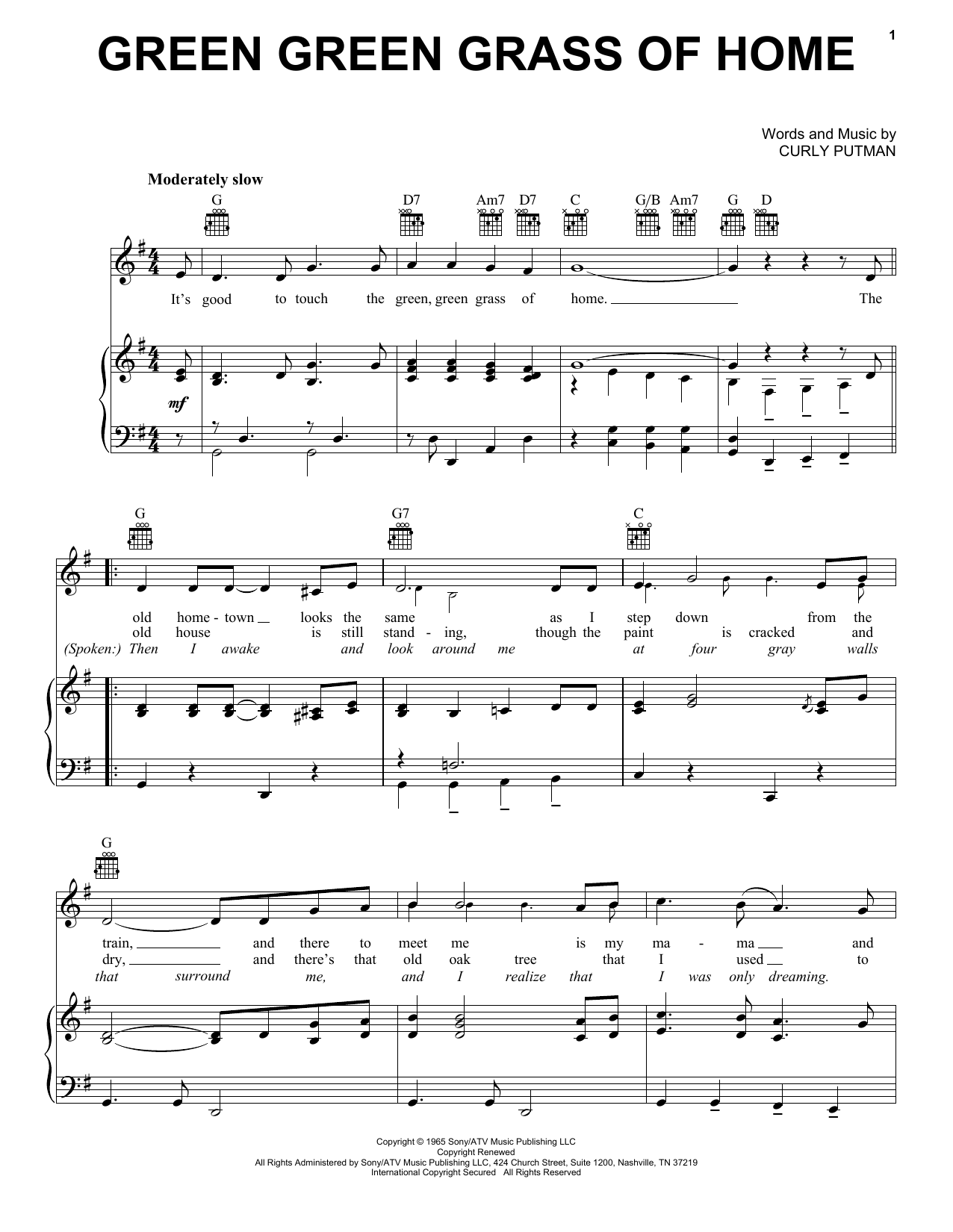 Download Porter Wagoner Green Green Grass Of Home sheet music and printable PDF score & Pop music notes