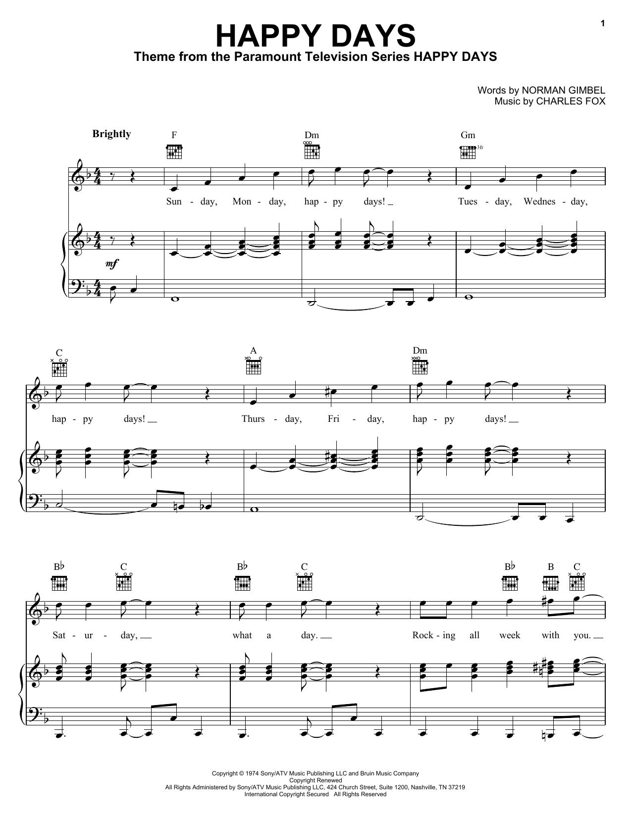 Download Pratt & McClain Happy Days sheet music and printable PDF score & Rock music notes