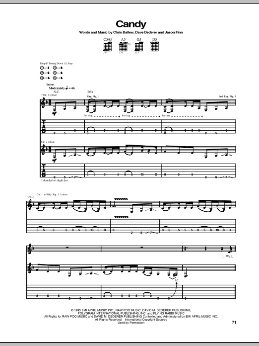 Download Presidents Of The United States Of America Candy sheet music and printable PDF score & Pop music notes