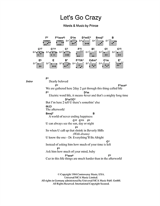 Download Prince Let's Go Crazy sheet music and printable PDF score & Rock music notes