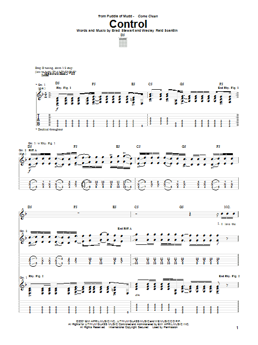 Download Puddle Of Mudd Control sheet music and printable PDF score & Pop music notes