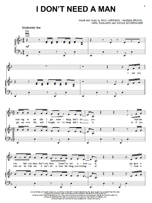 Download Pussycat Dolls I Don't Need A Man sheet music and printable PDF score & Pop music notes