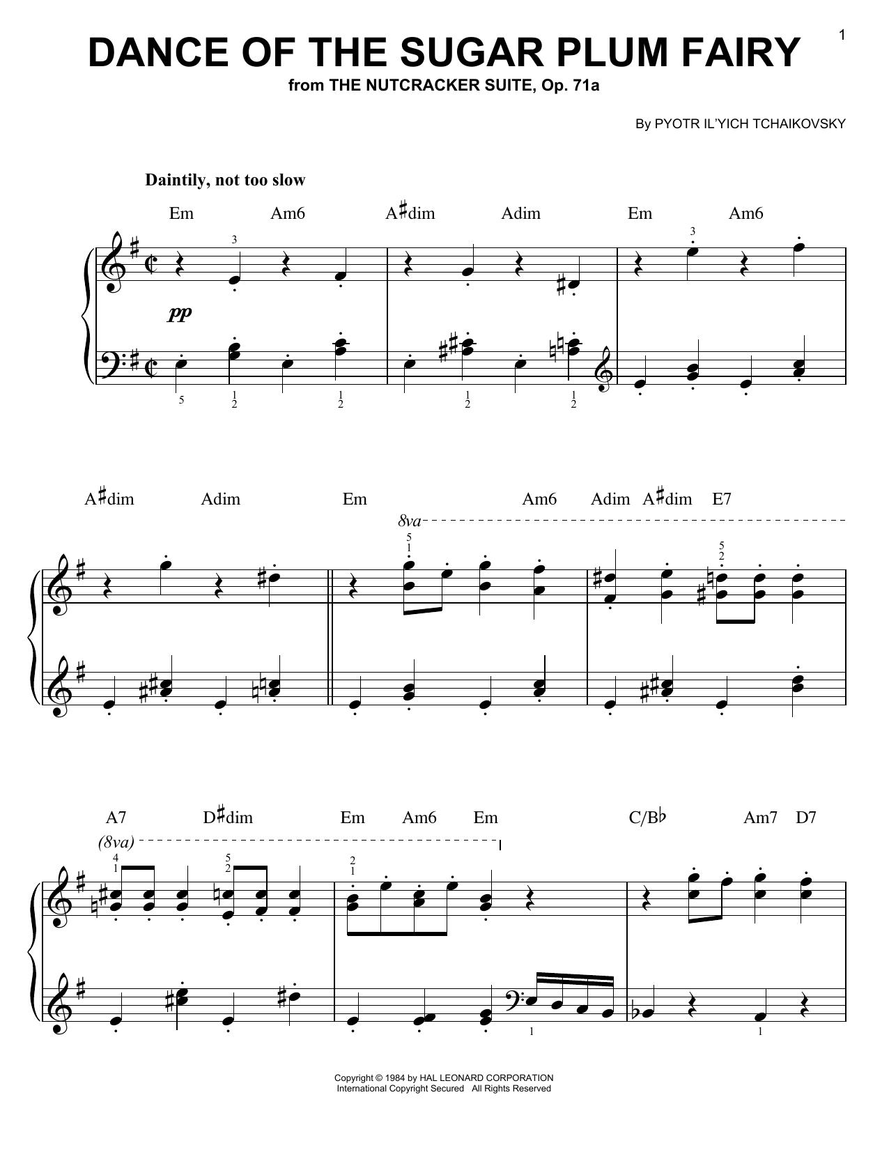Download Pyotr Ilyich Tchaikovsky Dance Of The Sugar Plum Fairy sheet music and printable PDF score & Children music notes