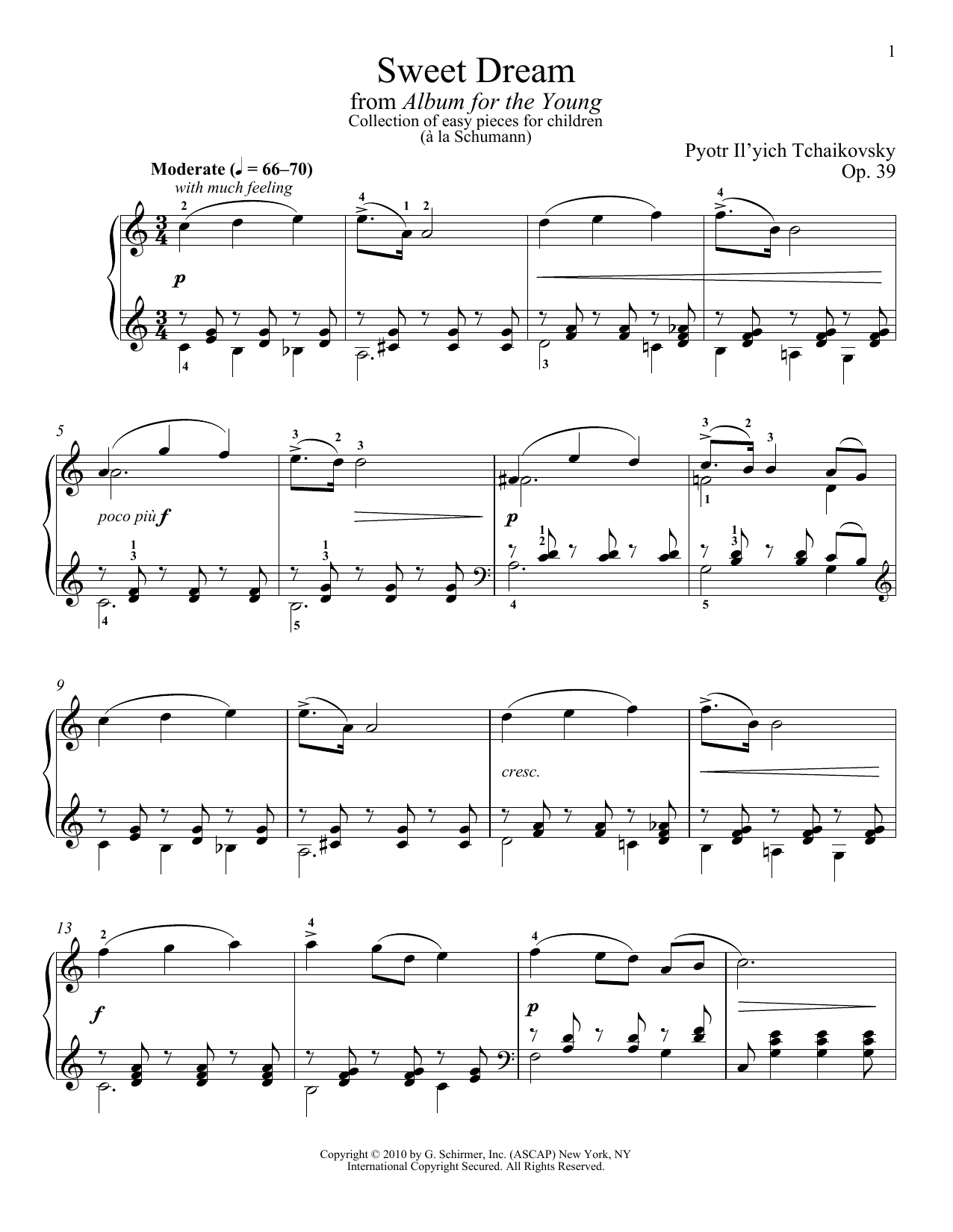 Download Pyotr Il'yich Tchaikovsky Sweet Dream (Douce Reverie), Op. 39, No. 21 (from Album For The Young) sheet music and printable PDF score & Classical music notes