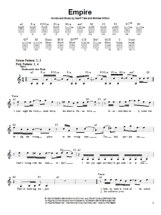 Download Queensryche Empire sheet music and printable PDF score & Pop music notes