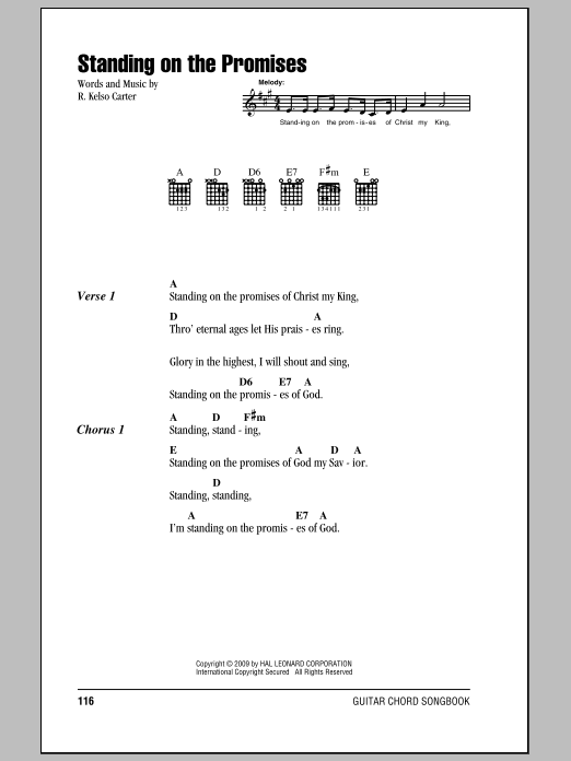 Download R. Kelso Carter Standing On The Promises sheet music and printable PDF score & Hymn music notes