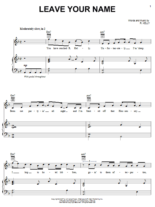 Download R. Kelly Leave Your Name sheet music and printable PDF score & Pop music notes
