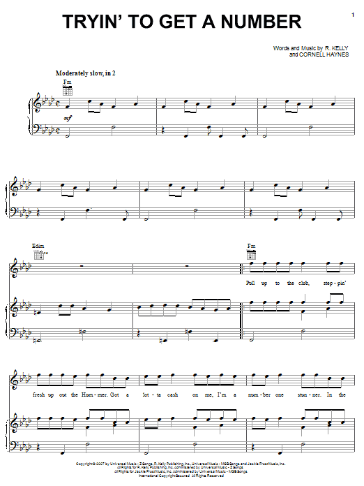 Download R. Kelly Tryin' To Get A Number sheet music and printable PDF score & Pop music notes