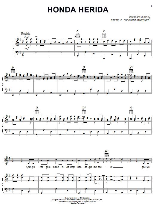 Download Rafael C. Escalona Martinez Honda Herida sheet music and printable PDF score & World music notes