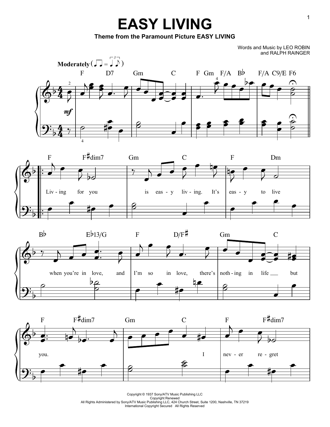 Ralph Rainger 'Easy Living' Sheet Music Notes, Chords | Download Printable  Easy Piano - SKU: 179184