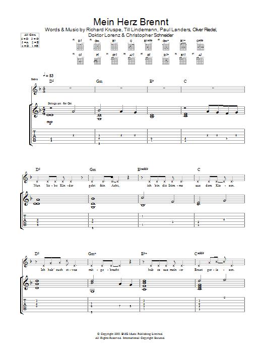 Download Rammstein Mein Herz Brennt sheet music and printable PDF score & Rock music notes