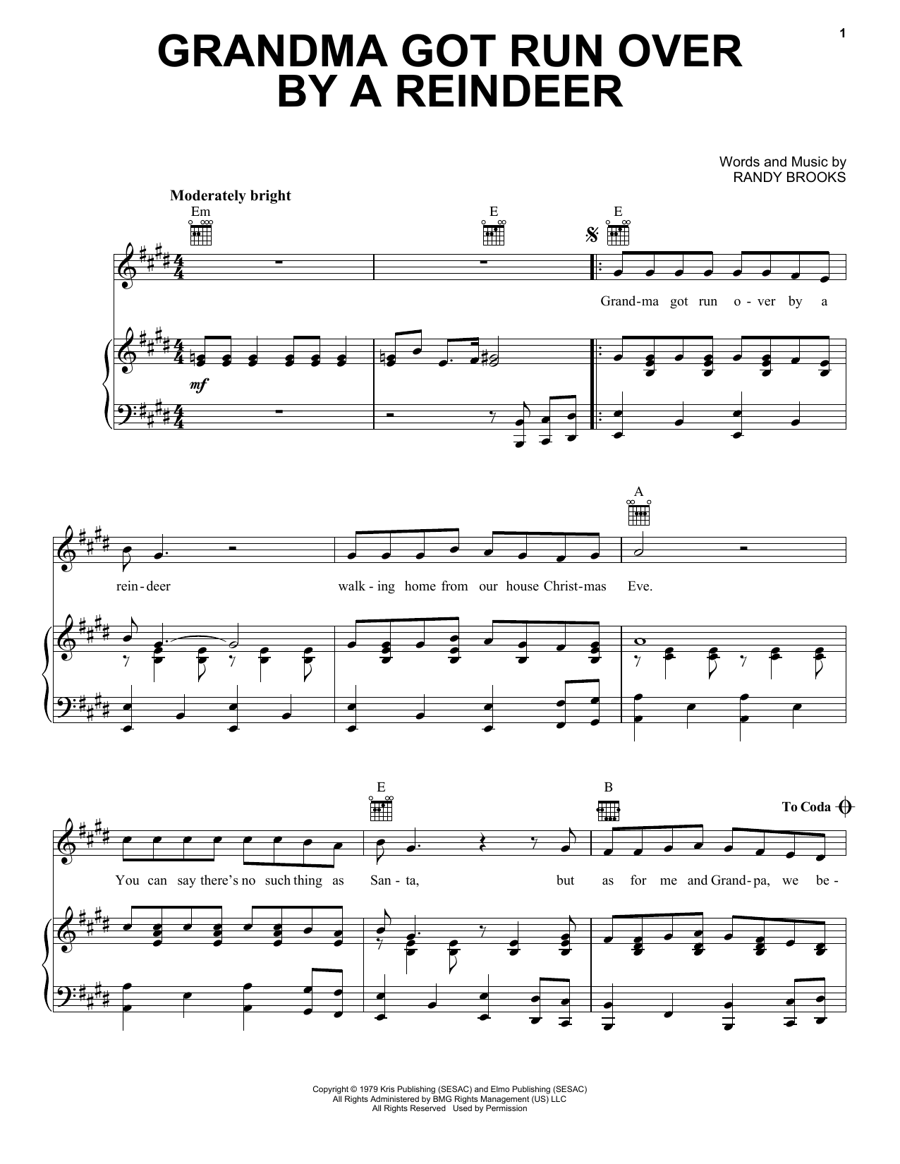 Download Randy Brooks Grandma Got Run Over By A Reindeer sheet music and printable PDF score & Christmas music notes