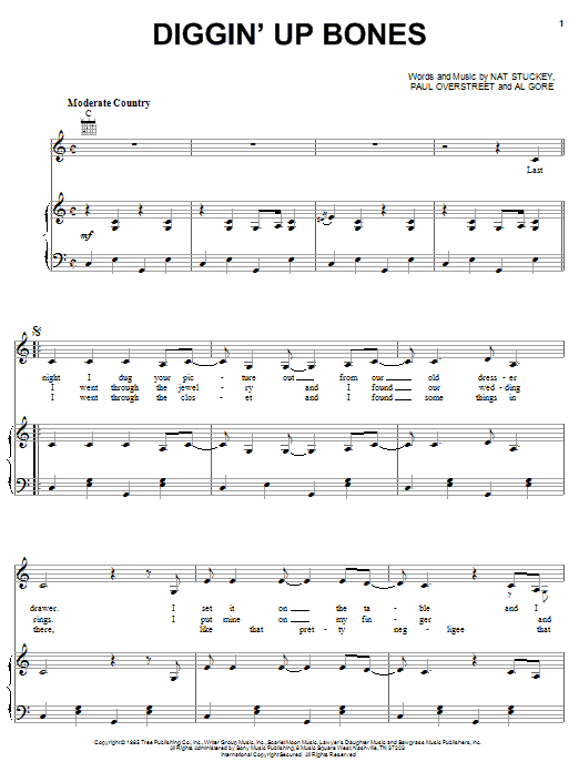 Download Randy Travis Diggin' Up Bones sheet music and printable PDF score & Country music notes