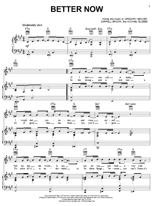 Download Rascal Flatts Better Now sheet music and printable PDF score & Pop music notes