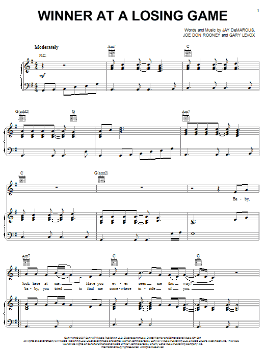 Download Rascal Flatts Winner At A Losing Game sheet music and printable PDF score & Pop music notes