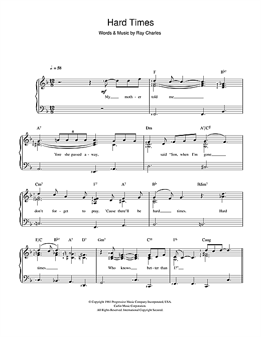 Download Ray Charles Hard Times sheet music and printable PDF score & Rock music notes