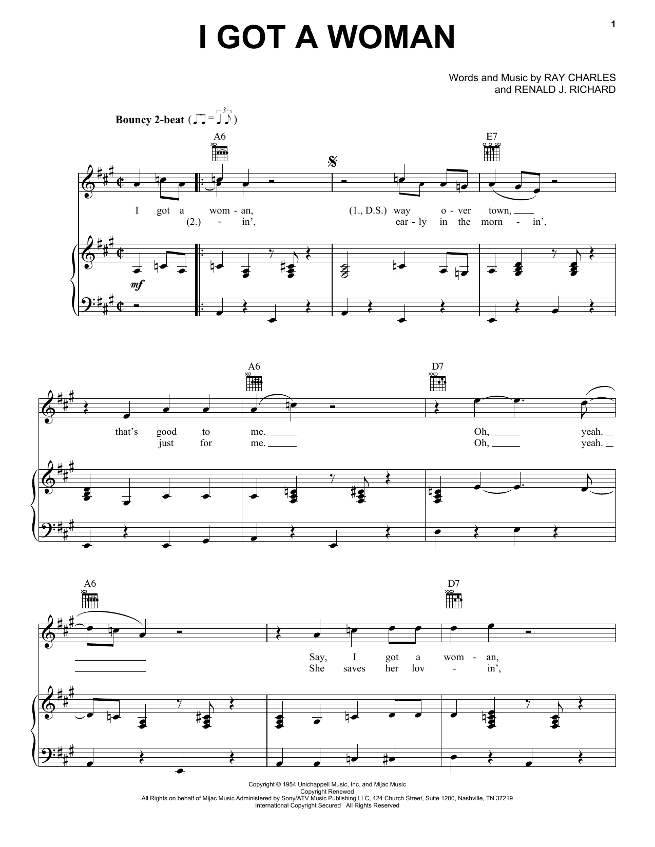 Download Ray Charles I Got A Woman sheet music and printable PDF score & Rock music notes