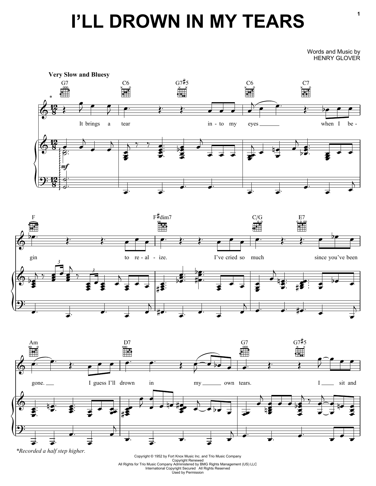 Download Ray Charles I'll Drown In My Tears sheet music and printable PDF score & Film and TV music notes