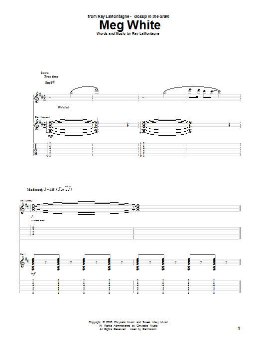 Download Ray LaMontagne Meg White sheet music and printable PDF score & Pop music notes