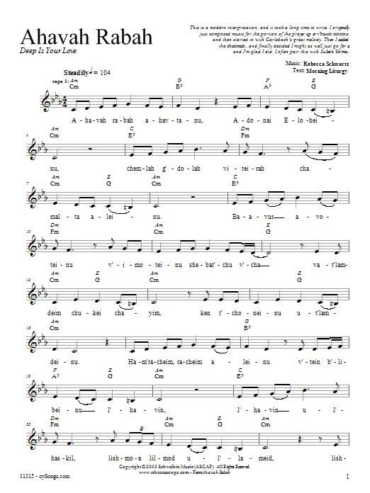 Download Rebecca Schwartz Ahavah Rabah sheet music and printable PDF score & Religious music notes