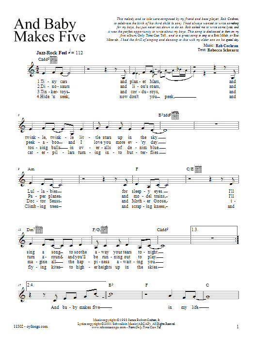 Download Rebecca Schwartz And Baby Makes Five sheet music and printable PDF score & Religious music notes
