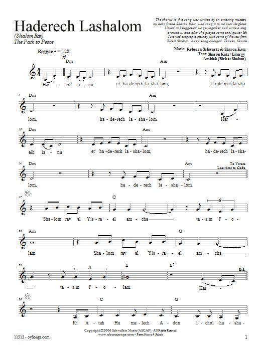 Download Rebecca Schwartz Haderech Lashalom sheet music and printable PDF score & Religious music notes