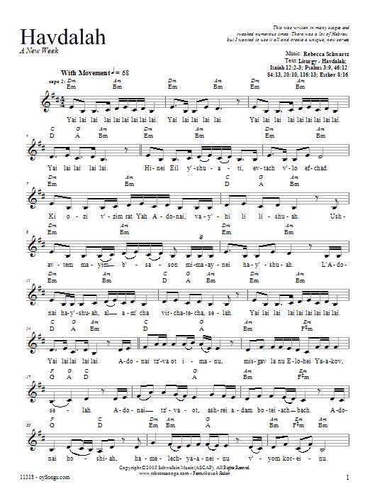 Download Rebecca Schwartz Havdalah sheet music and printable PDF score & Religious music notes