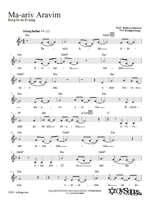 Download Rebecca Schwartz Ma-ariv Aravim sheet music and printable PDF score & Religious music notes