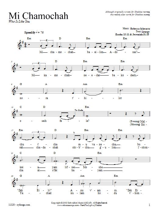 Download Rebecca Schwartz Mi Chamochah sheet music and printable PDF score & Religious music notes