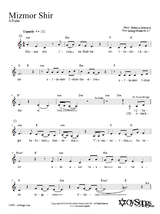 Download Rebecca Schwartz Mizmor Shir sheet music and printable PDF score & Religious music notes