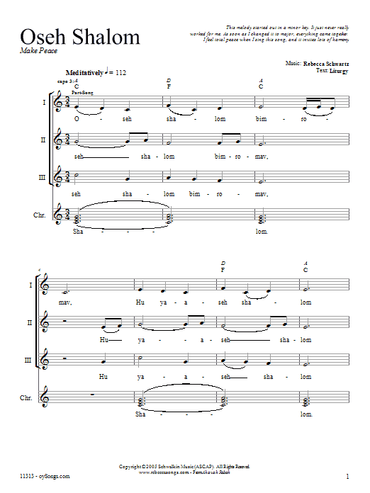 Download Rebecca Schwartz Oseh Shalom sheet music and printable PDF score & Religious music notes