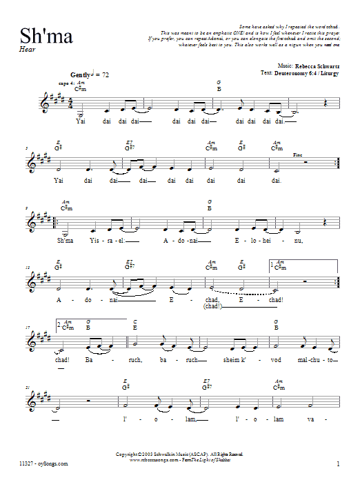 Download Rebecca Schwartz Sh'ma sheet music and printable PDF score & Religious music notes